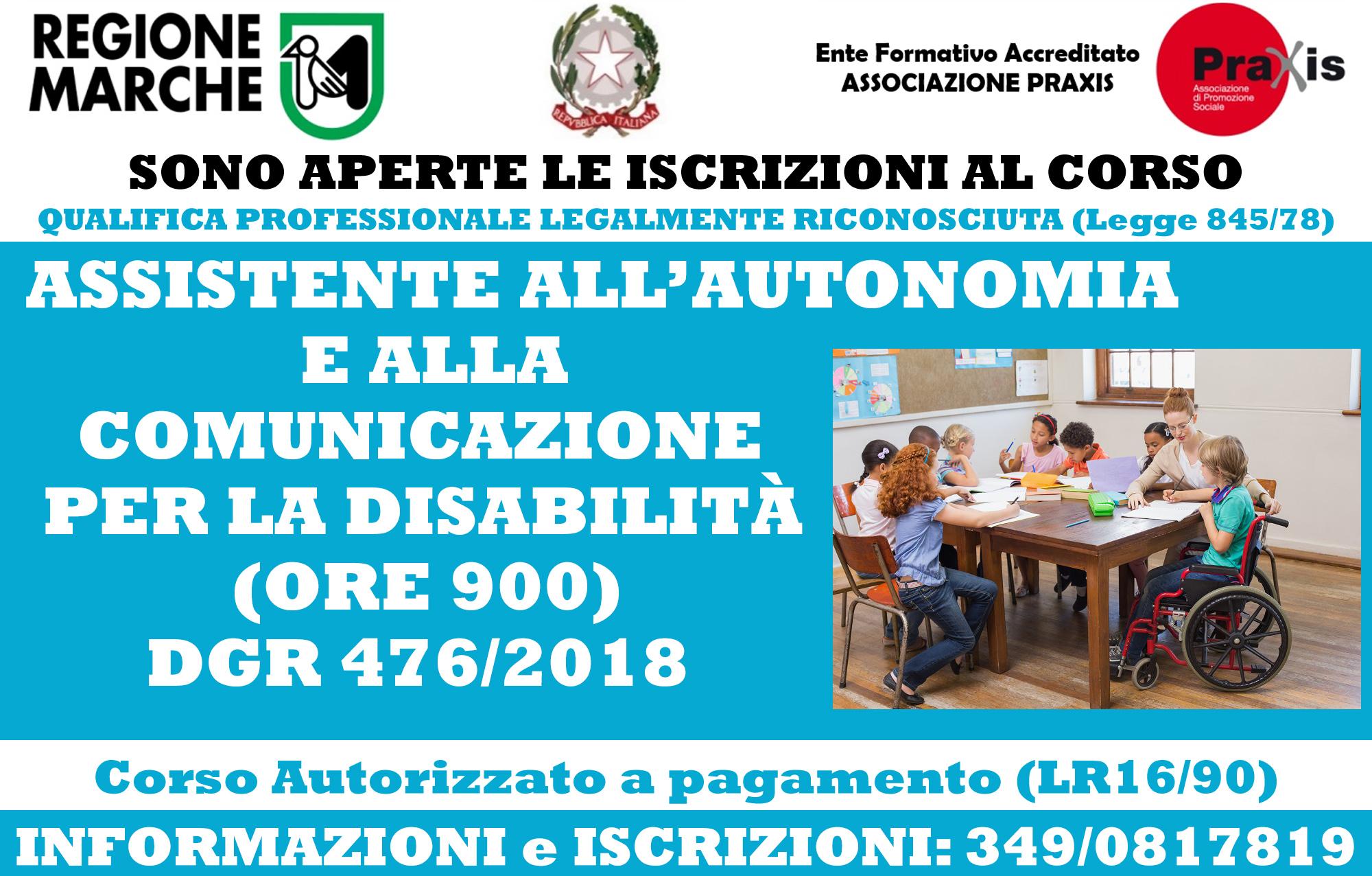 CORSI ASSISTENTE ALL'AUTONOMIA E COMUNICAZIONE PER LA DISABILITÀ (LEGALMENTE RICONOSCIUTO DI QUALIFICA PROFESSIONALE)
