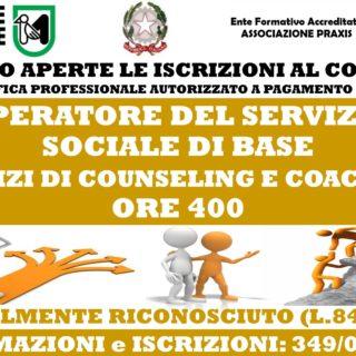 CORSI COUNSELING E COACH (LEGALMENTE RICONOSCIUTO QUALIFICA PROFESSIONALE OPERATORE SSB)