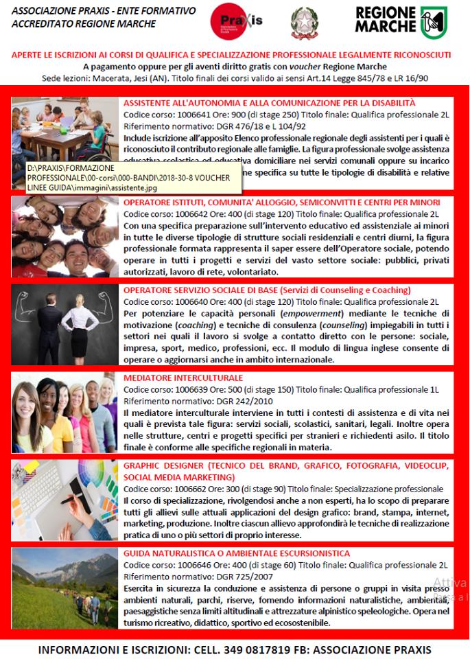 """CORSI PRAXIS A CATALOGO REGIONE MARCHE """"FORM.I.CA"""""""