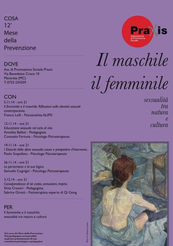 MESE DELLA PREVENZIONE PRAXIS 2014 ANNO 12° – IL MASCHILE E IL FEMMINILE