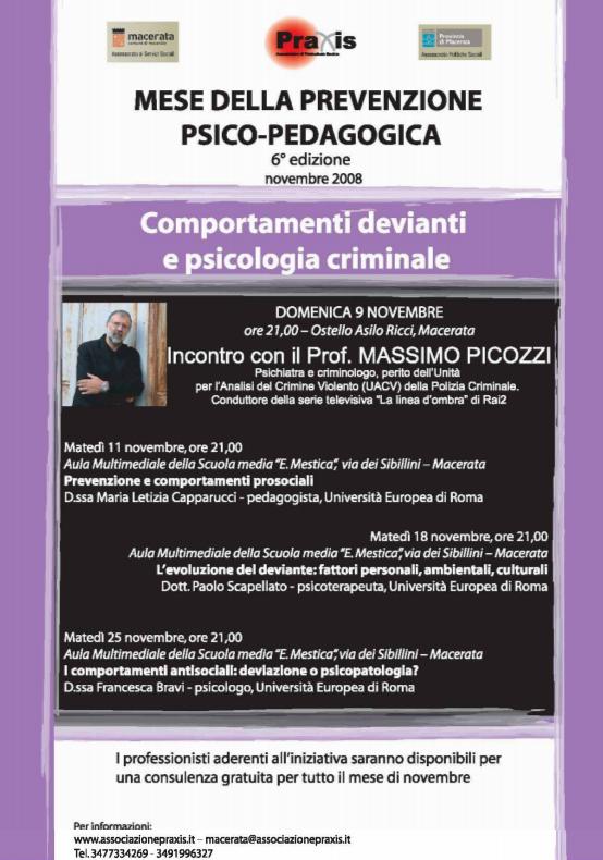 Mese della Prevenzione Praxis 2008 anno 6° – Comportamenti devianti e psicologia criminale