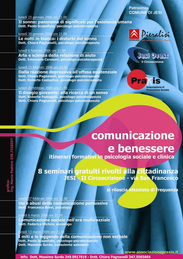 MESE DELLA PREVENZIONE PRAXIS 2006 ANNO 4° – Comunicazione e Benessere