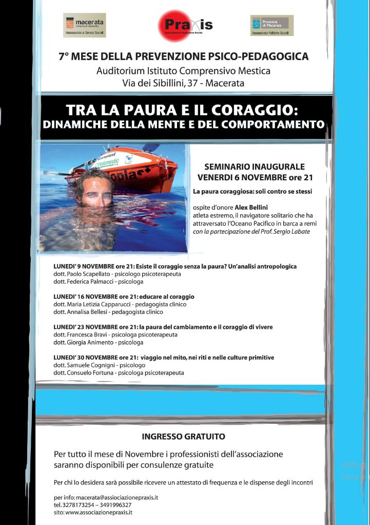 MESE DELLA PREVENZIONE PRAXIS 2009 ANNO 7° – TRA LA PAURA E IL CORAGGIO