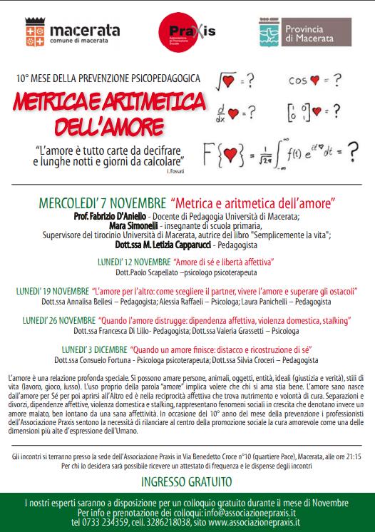 MESE DELLA PREVENZIONE PRAXIS 2012 ANNO 10° – METRICA E ARITMETICA DELL'AMORE