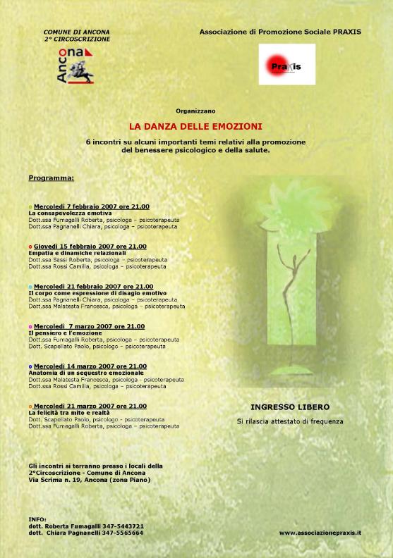 MESE DELLA PREVENZIONE PRAXIS ANCONA 2007 ANNO 5° – La Danza delle Emozioni