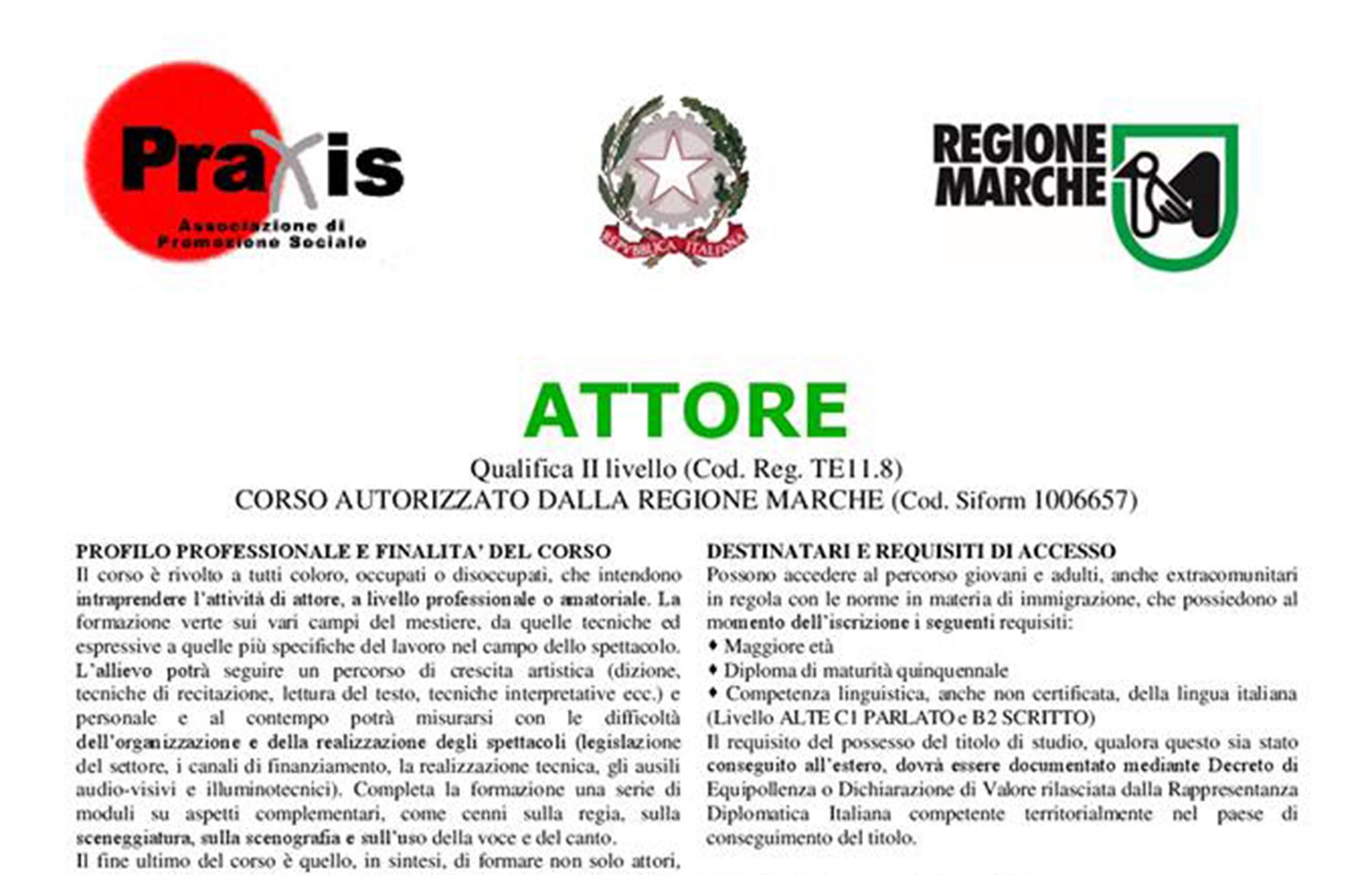 banner corso di qualifica professionale legalmente riconosciuto in attore ente formativo praxis jesi macerata fermo ascoli piceno ancona fano pesaro urbino