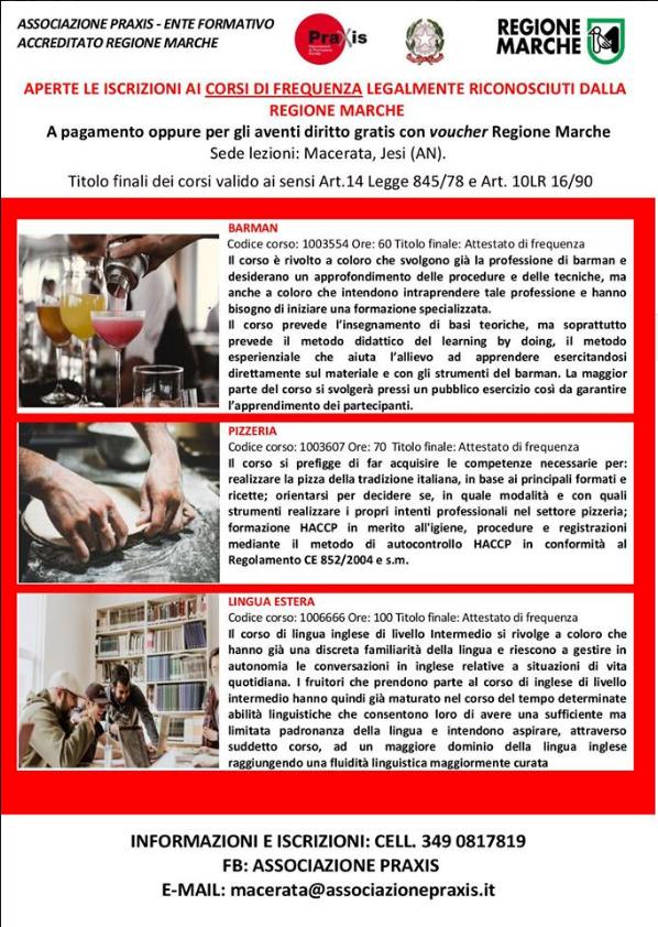 CORSI BREVI DI AGGIORNAMENTO DI PIZZERIA, BARMAN, LINGUA INGLESE (RICONOSCIUTI)