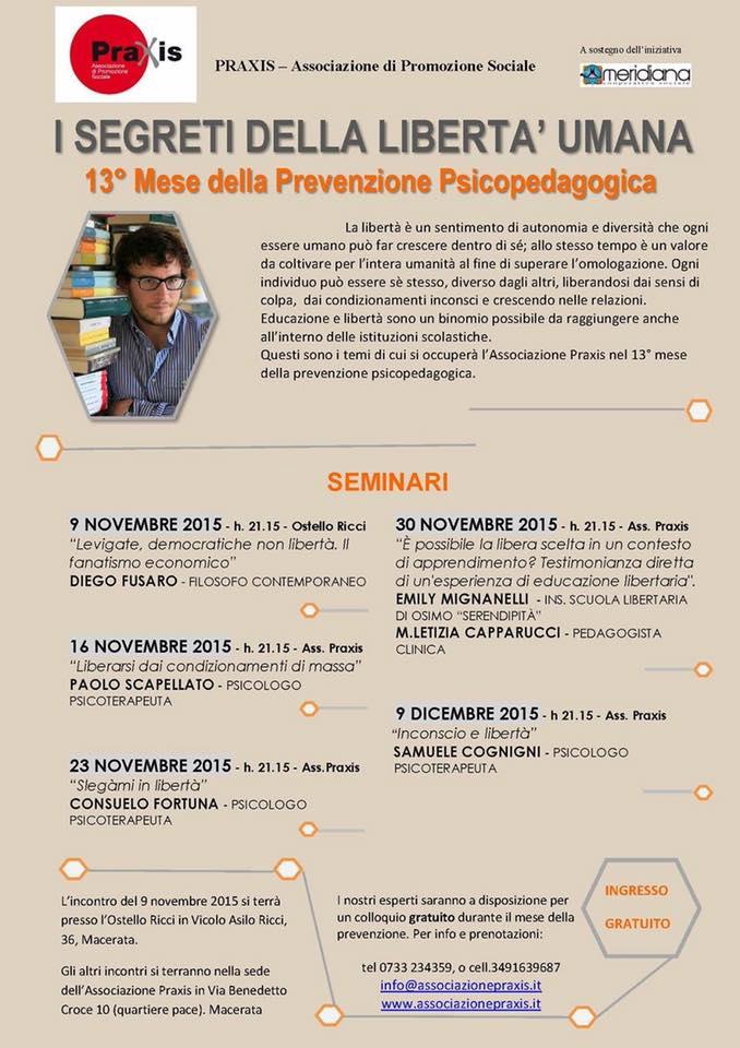 MESE DELLA PREVENZIONE PRAXIS 2015 ANNO 13° – I SEGRETI DELLA LIBERTA' UMANA