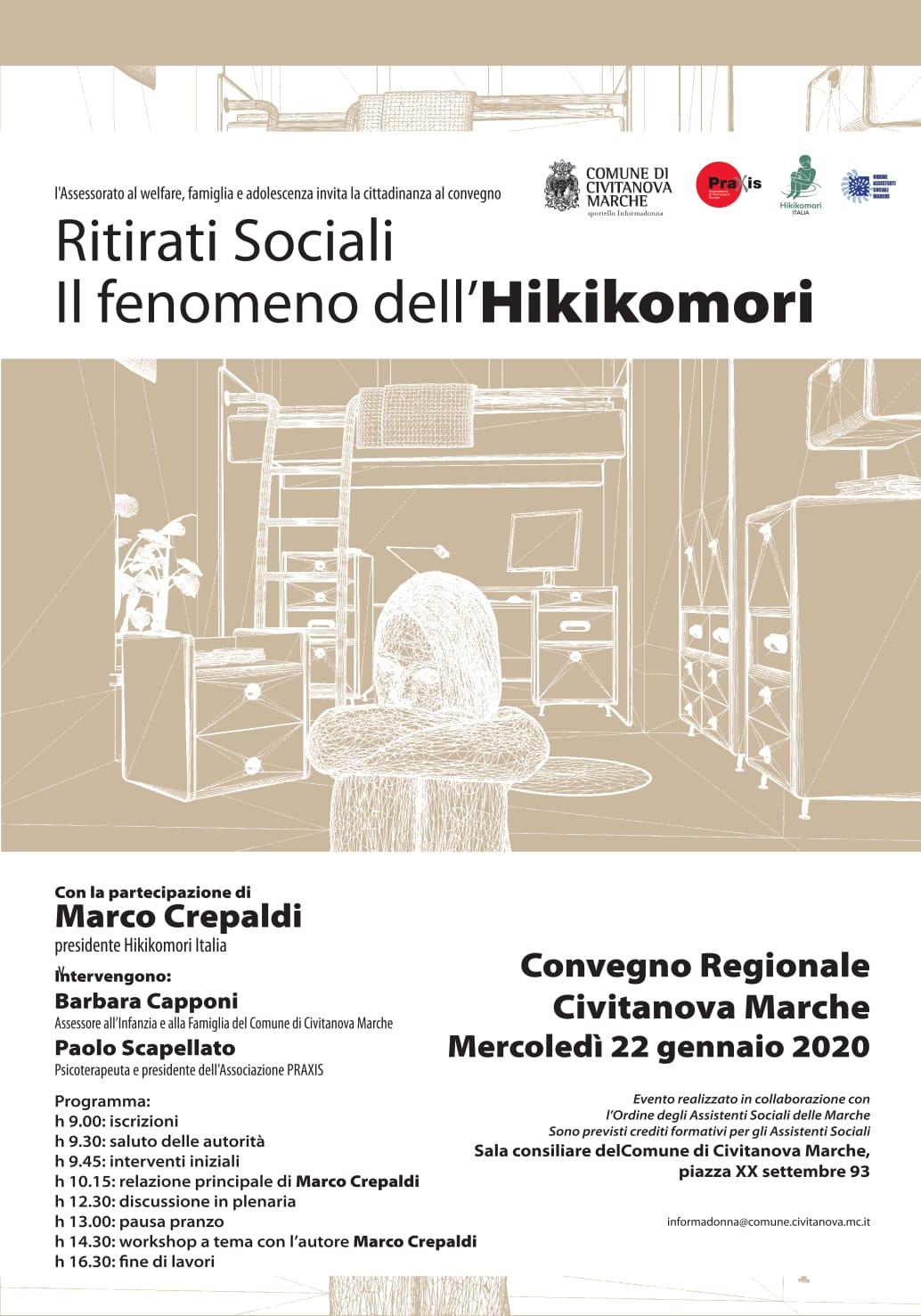 CIVITANOVA MARCHE – CONVEGNO REGIONALE – RITIRATI SOCIALI: IL FENOMENO DELL'HIKIKOMORI